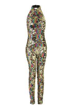 7eb9ddadbb9d   Rainbow Gold Catsuit by Jaded London Sequin Jumpsuit