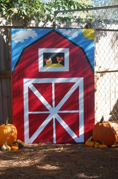 Made a barn out of cardboard, bought some pumpkins, and some stray to help it… Farm Animal Birthday, Farm Birthday, 2nd Birthday Parties, Birthday Ideas, Petting Zoo Party, Farm Day, Barnyard Party, Barn Wood Crafts, Barn Parties
