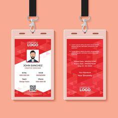 قالب تصميم بطاقة الهوية للشركات الحمراء Id Card Template, Card Templates, Corporate Id, Corporate Offices, Corporate Design, Identity Card Design, Name Tag Design, Passport Card, Photographer Business Cards