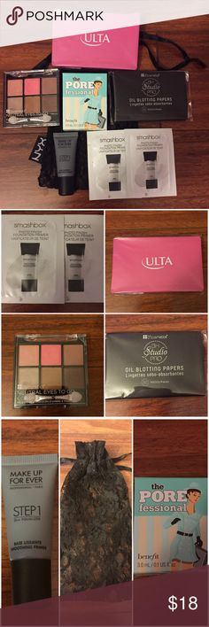 Lot of MakeUp Face Products Brand New Lot of Makeup Face Products! 💠2 Smashbox Photo finish foundation primers 💠Makeup Forever Smoothing Primer(NOT FULL SIZE) 💠Benefit the Porefessional face primer(NOT FULL SIZE) 💠BH Cosmetics oil Blotting papers 💠BH Cosmetics Travel Eye shadow palette 💠Ulta pink Compact Mirror 💠NYX Black Lace Drawstring Bag Makeup