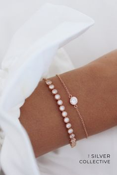 Crafted from 925 Sterling Silver and plated in Rose Gold. The Grace Bracelet can be worn solo or layered with the Myla Bracelet (as worn). Cute Jewelry, Jewelry Accessories, Jewelry Design, Wedding Accessories, Rose Gold Jewelry, Rose Gold Bracelets, Jewelry Bracelets, Ring Earrings, Anklets