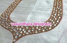 Kundan and zari embroidery for Saree blouse