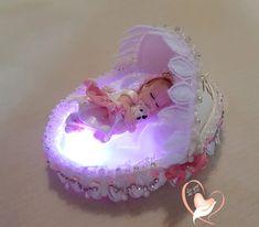 Veilleuse couffin lumineux bébé fille nacre - au coeur des arts - Enfants - Au coeur des Arts