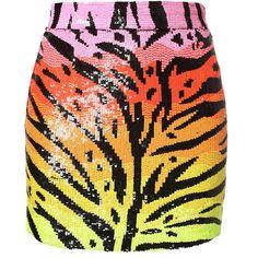 ASHISH Sequined Tiger Miniskirt ($430) ❤ liked on Polyvore featuring skirts, mini skirts, bottoms, ashish, jupes, saias, multi, embellished skirt, mini skirt and silk skirt