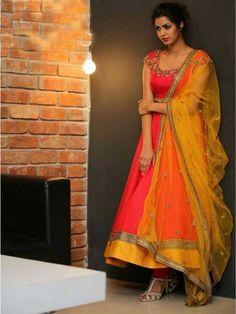 Reputable orange gerogette Designer anarkali salwar suit comes Orange color bottom with yellow color net dupatta. It contained the work of Embroidery . The suit size can be customized up to bust size 44