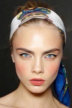cara delevigne// yellow eye shadow winged eyeliner nude lip and pink blush   Pinterest: marseenb☽ ☼☾
