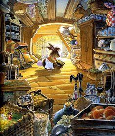 By Loic Jouannigot Bunny Art, Fairytale Art, Children's Book Illustration, Whimsical Art, Cute Art, Painting & Drawing, Illustrators, Cute Pictures, Folk Art
