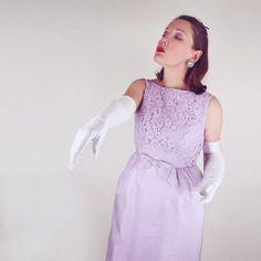 60s Lavender Long Dress - Elegant Jackie Style S