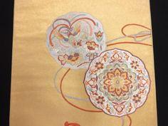 蘇州刺繍本金箔・鏡裏に華紋・花鳥模様袋帯