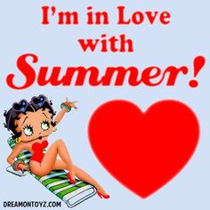 I'm in Love with Summer! ♥ Betty Boop graphics & greetings:  http://bettybooppicturesarchive.blogspot.com/  ~And on Facebook~ https://www.facebook.com/bettybooppictures  #BettyBoop in a lounge chair wearing a red bathing suit