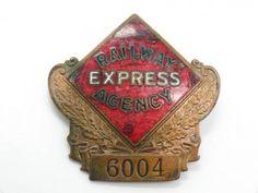 Estate-Found-Vintage-Early-20c-Railway-Express-Agency-RR-Brass-Enamel-Badge