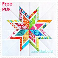 A gorgeous free quilt block pattern bySix White Horses Patternscalled TheLone Starburst. This free foundation paper-piecing template will create your new favorite bordered star. The Lone Starb...