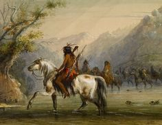 Shoshone Indians - Fording a River by Alfred Jacob Miller kp Sitting Bull, Andrew Jackson, Native American Artists, Native American Indians, Buffalo Bill, Jacob Miller, Fur Trade, Aboriginal People, Historical Art