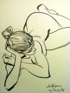 Jin Kim, life drawing.  Nice!