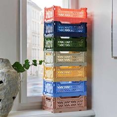 HAY design in Het Arsenaal Hay Design, Deco Design, Crate Storage, Storage Boxes, Plastic Crates, Vibrant Colors, Colours, Danish Design, Scandinavian Design