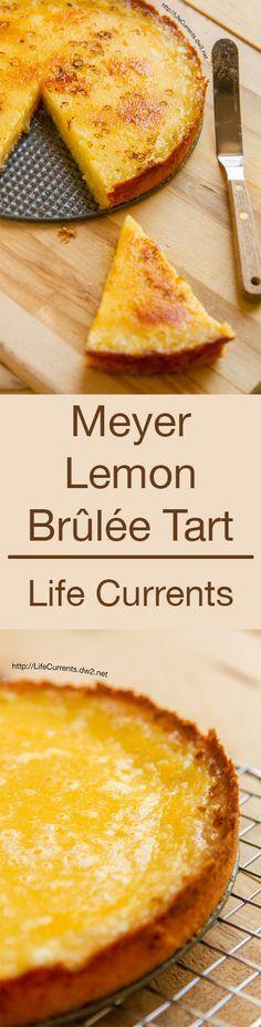 Meyer Lemon Brûlée Tart with Shortbread Crust is a stunningly delicious little dessert. Sweet, but not too much, Light with citrusy lemon, Buttery shortbread crust, and a crispy caramel Brûléed sugar top. Lemon Desserts, Lemon Recipes, Just Desserts, Sweet Recipes, Baking Recipes, Delicious Desserts, Yummy Food, Healthy Recipes, Pie Dessert