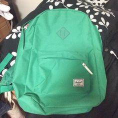 Kelly Green Herschel Backpack Barely used for class and has a few marks on the bottom from when it was on the floor but theyre barely visible! Soooo roomy and comfortable! Near perfect condition! Herschel Supply Company Bags Backpacks