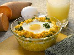 Eggs Over Kale & Sweet Potato Grits