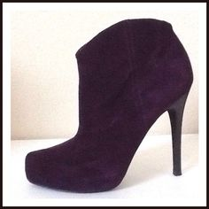 Jessica Simpson Purple Ankle Boots (worn once) Jessica Simpson Purple Suede Ankle Boots.  Side zipper. 4-1/2 inch thin heel with 1 inch platform.  Gorgeous shade of purple.  Slightly pointed toe shape.  Only worn once, in excellent condition. Jessica Simpson Shoes Ankle Boots & Booties