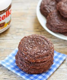 Super easy Nutella cookies--just measure, mix, and bake. I doubled the recipe, and that made about 30 cookies. Highly recommend cooking them for only 7-8 minutes for an even softer center. Also, try chilling the dough before baking--it gives the cookies more of a dome shape!