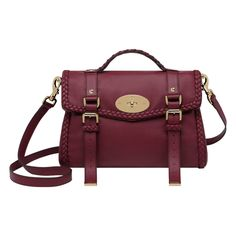 Mulberry - Alexa with Woven Trim in Berry Small Grain Calf Nappa | want not need