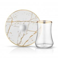 LUXURIOUS TURKISH TEA GLASS SET FOR SIX, MARBLE 001