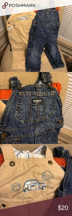 Just Listed! Set of 2 Infant Overalls Denim/Khaki Set of 2 overalls size 12 mos from smoke & pet-free home.  OshKosh denim pair has traditional straps with hook & eye closure. Plaid lined interior. ZERO damage or staining.  Children's Place pair is light tan with car detail on chest and snap closure on straps. ZERO damage or staining.  Both pairs have button release along both legs and crotch for diaper changing. OshKosh B'gosh Bottoms Overalls