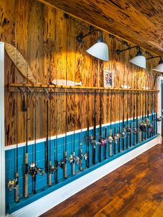 Personalizing your man cave is all about displaying your interest. A well-decorated wall with a fisherman& most cherished collection, his best fishing rods. Source by improvenet The post 2020 Interior Designer Cost Fishing Pole Storage, Fishing Poles, Fishing Pole Decor, Fishing Shack, Fishing Tips, Fishing Rod Rack, Fishing Basics, Fishing Stuff, Rustic Fishing Decor