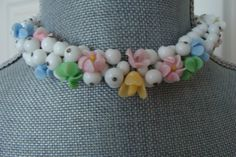 1940s Choker Style, All White Glass Beads with Stunning Multi Colored Glass Flower Beads