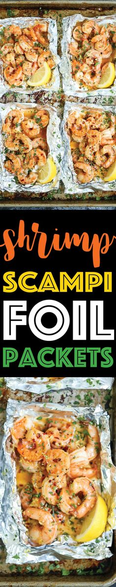 Shrimp Scampi Foil Packets - Everyone's favorite shrimp scampi without any of the fuss in these easy-to-assemble foil pouches! Prep ahead of time too!!!