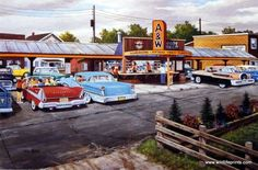 "A great scene from the time when drive-in's and car hop service were considered ""fast food"". Classic cars and A&W Root Beer are the highlight of this print."