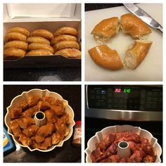 Monkey Bread from donuts! Great way to use stale or frozen donuts. Just spritz w… Monkey Bread from donuts! Great way to use stale or frozen donuts. Just spritz with butter and cinnamon, then bake. Crispy outer crust with warm gooey center – YUM! Stale Donut Recipe, Leftover Donut Recipe, Donut Recipes, Breakfast Bites, Breakfast Buffet, Breakfast Recipes, Dessert Recipes, Desserts, Monkey Bread