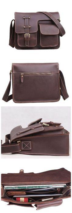 Vintage Leather Mens Messenger Bag/ Crossbody Shoulder Bag/Satchel Bag