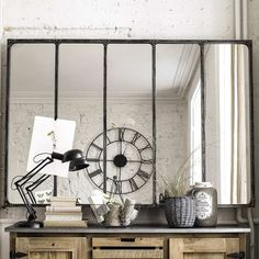 Industrial-style mirror with metal frame, - Metal Industrial, Industrial Mirrors, Industrial Living, Industrial Style, Hallway Furniture, Sideboard Furniture, Small Furniture, Dining Sofa, Dining Room Bench Seating