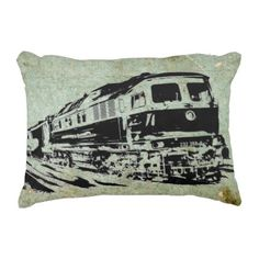 Diesel Locomotive  Illustration on Grungy Cushion - home gifts ideas decor special unique custom individual customized individualized