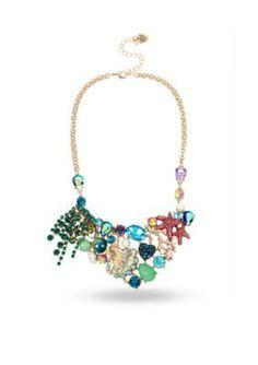 Betsey Johnson Men's Gold-Tone Sea Shell & Starfish Charm Statement Necklace - Multi - One Size