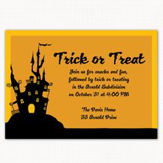 Haunted House or trick or treat party invitation