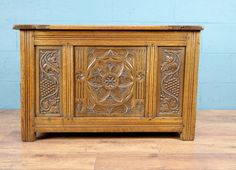 Antique carved oak coffer / chest http://www.walcotandco.co.uk/cabinets-and-storage/antique-carved-oak-coffer-chest
