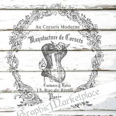 Corset French Label Lingerie Instant Download French Transfer Fabric Linen digital collage sheet graphic printable No. 1113