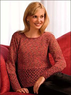 3821577b41 Free Long-Sleeved Top Knitting Patterns - Knit pullover with openwork lace  border at lower edge of body and sleeve. Made with light weight yarn and  size 8 ...
