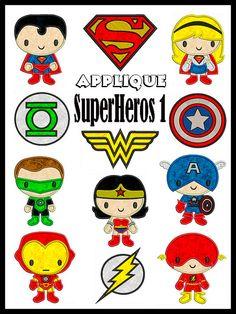 Set of 12 - SUPERHEROS 1 - Machine Applique Embroidery - Instant Digital Download on Etsy, $8.28
