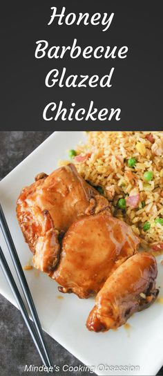 Cook this honey barbecue glazed chicken in a slow cooker and then finish it under the broiler for a moist chicken dinner that will knock your socks off! via @https://www.pinterest.com/mindeescooking/