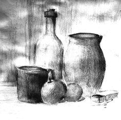 Martwa Natura, 30x30c,, brystol, graphite