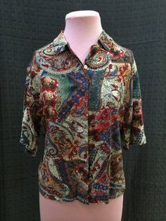 1980s Patterned cotton shirt 14 $8
