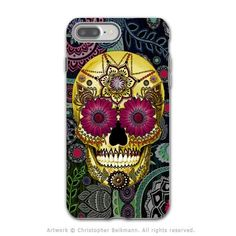 Colorful Paisley Sugar Skull - Artistic iPhone 7 PLUS Tough Case - Dual Layer Protection - Sugar Skull Paisley Garden