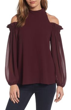 This cold shoulder top by Trouvé is so fun with a high neckline and ruffle detailing! -- Part of the Nordstrom Anniversary Sale 2017! // http://rstyle.me/n/cqh8gwcb5bp