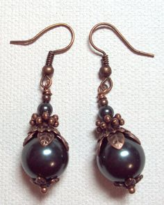 Earrings Teal Tahitian Swarovski Crystal Pearls Southwestern Antique Copper FREE SHIPPING. $6.95, via Etsy.