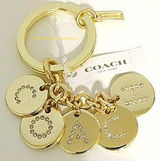 Coach Keychain Gold Tone Logo Letters Pave Crystal Charm Purse Key Ring Fob NWT #Coach #CharmKeyChain