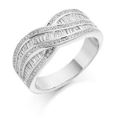 Eternity ring made of baguette diamonds set in white gold with melee diamonds down sides. this ring has an attractive cross over feature by loyes diamonds Baguette Diamond, Rings For Men, White Gold, Wedding Rings, Rose Gold, Engagement Rings, Eternity Rings, Silver Diamonds, Beautiful