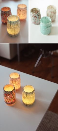 DIY Jar Candle Holders using 1 part glue, 2 parts water and fabric strips Diy Candle Holders, Diy Candles, Home Crafts, Fun Crafts, Diy And Crafts, Mason Jar Crafts, Mason Jars, Jar Candle, Diy Interior
